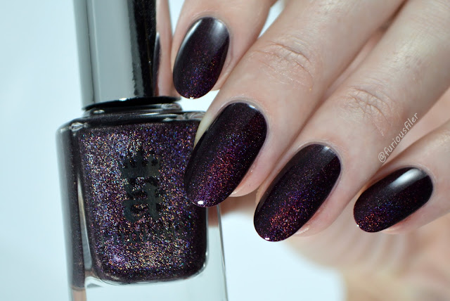tennyson's romance swatch review a england burgundy holographic
