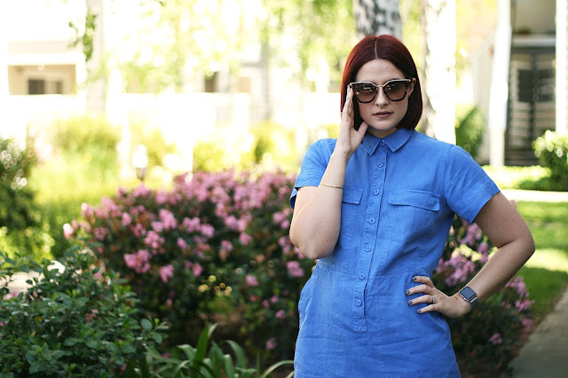 J Crew dress, cobalt blue, prada sunglasses, fashion Blogger, womenswear, apple watch
