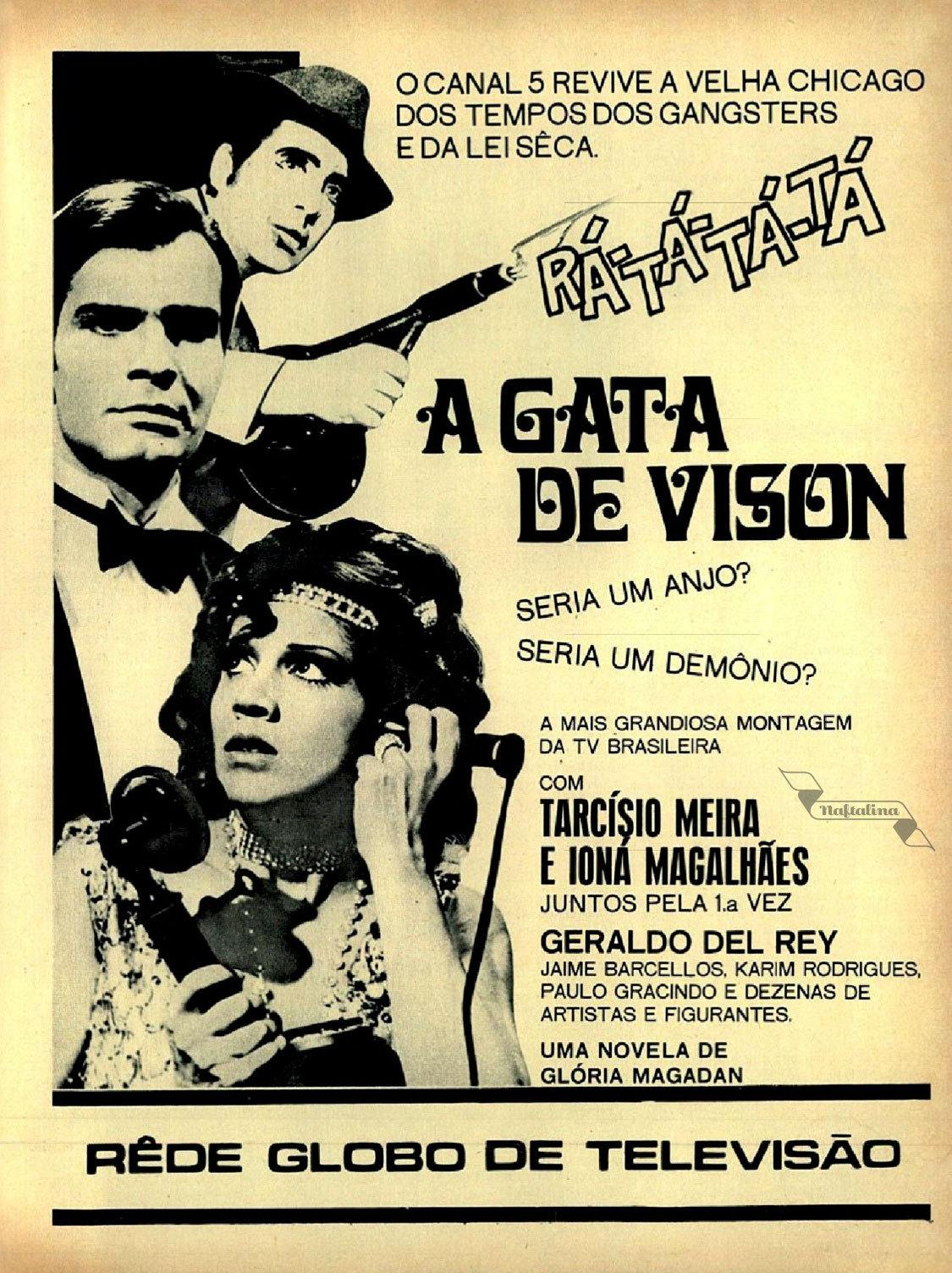 Propaganda antiga da Rede Globo promovendo a novela A Gata de Vison de 1968