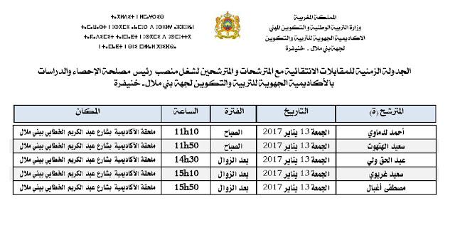 الجدولة الزمنية للمقابلات الانتقائية  لشغل رئيس مصلحة بأكاديمية جهة بني ملال – خنيفرة