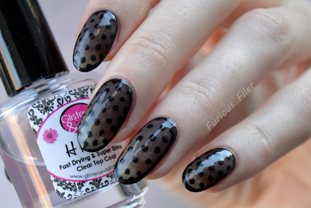 chic sheer lace dots border nail design nail spec