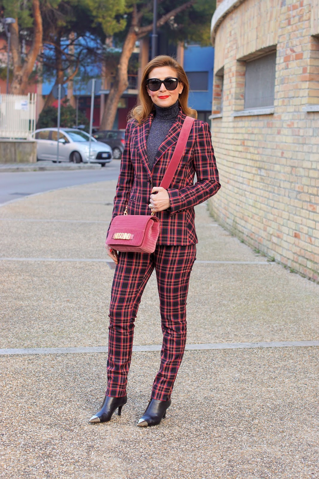 What to buy on sale: check suit, Fabi check suit and AGL shoes on Fashion and Cookies fashion blog, fashion blogger