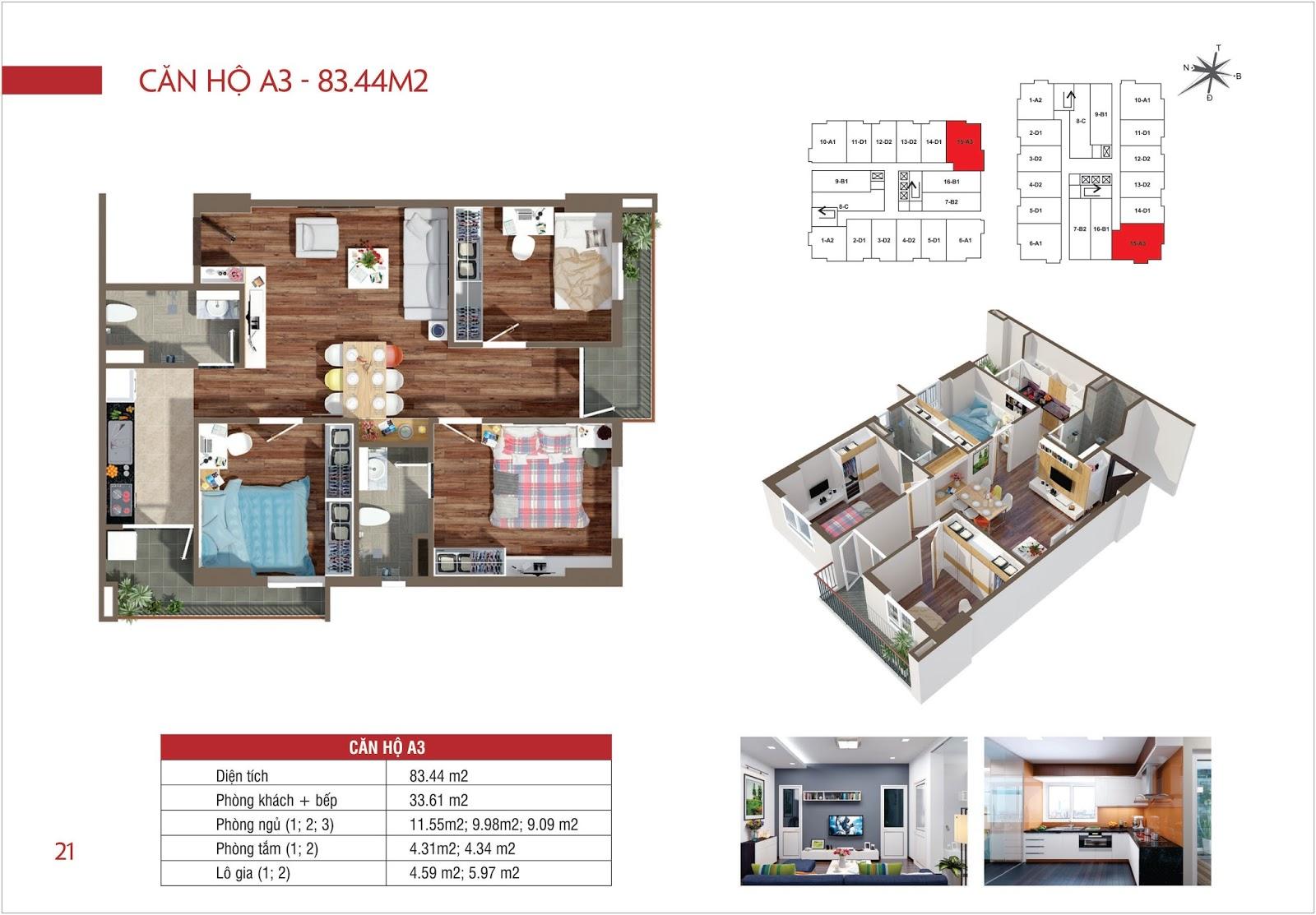 Căn hộ A3 - 83,44 m2 chung cư Lộc Ninh Singashine