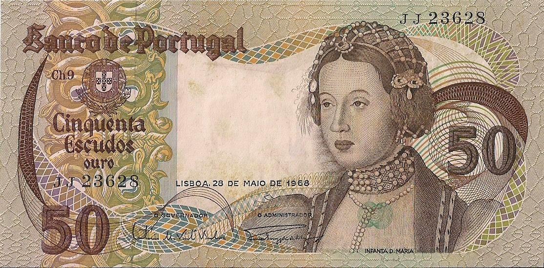 Portugal Banknotes 50 Escudos banknote 1968 Infanta Dona Maria
