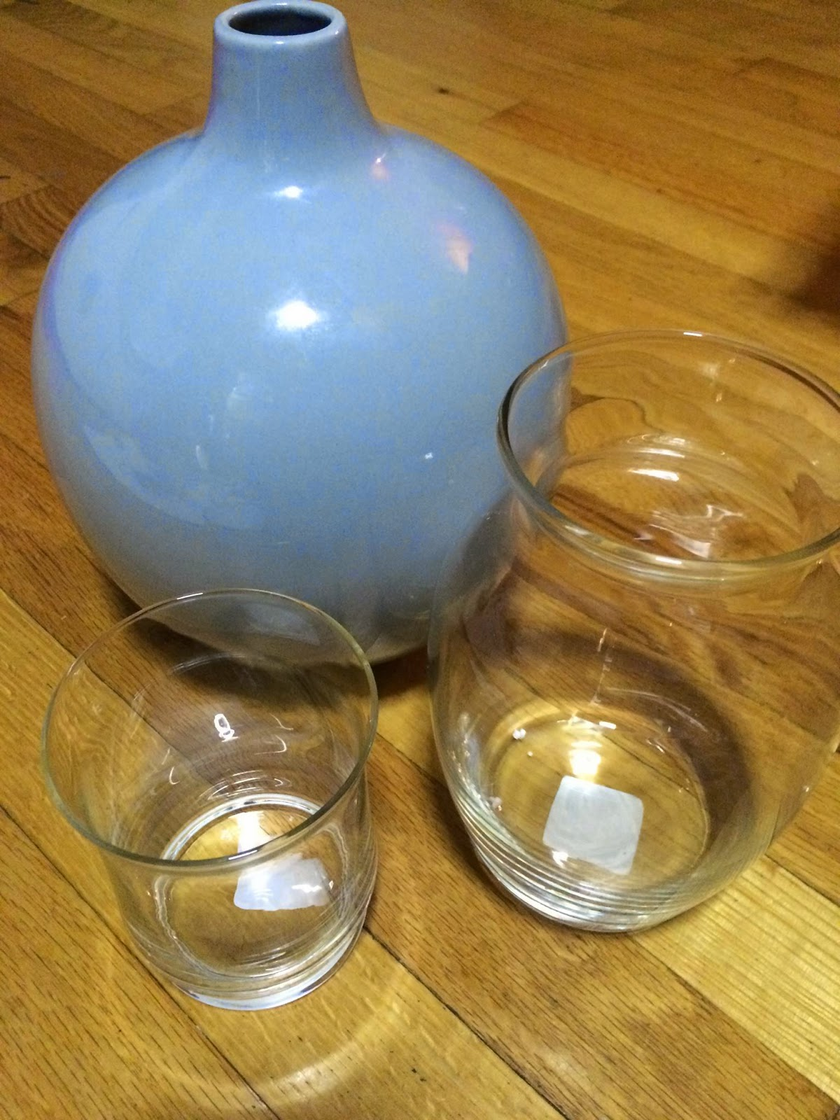 DIY tutorial on how transform old vases and dollar store glass.