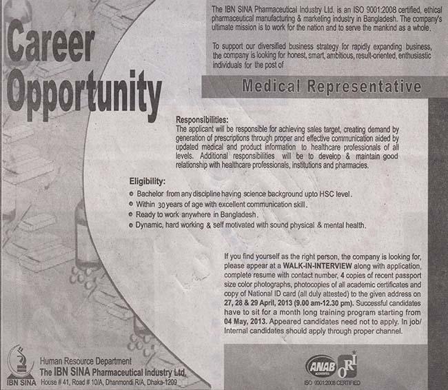 Jobs Barta: The IBN Sina Pharmaceutical Industry Ltd Jobs