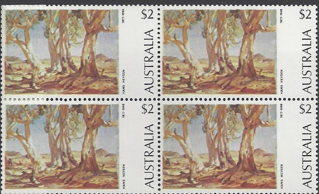 Australia 1974 $2 Hans Heysen Painting Block of 4