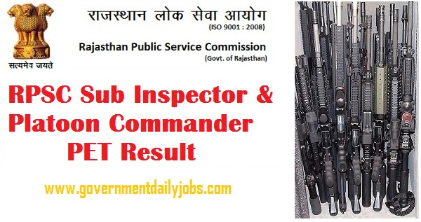 RPSC SI & PC PET Result 2016