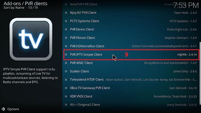 Cara menjalankan IPTV di KODI tahap 8