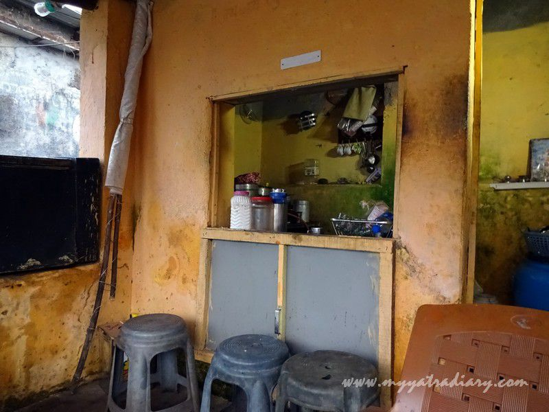 Hole in the wall Vada Pav shop in the temple lane, Harihareshwar