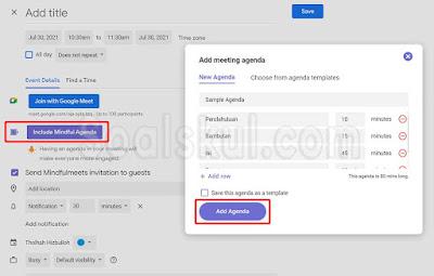 langkah 11-13 menambahkan fitur emoji dan agenda di google meet