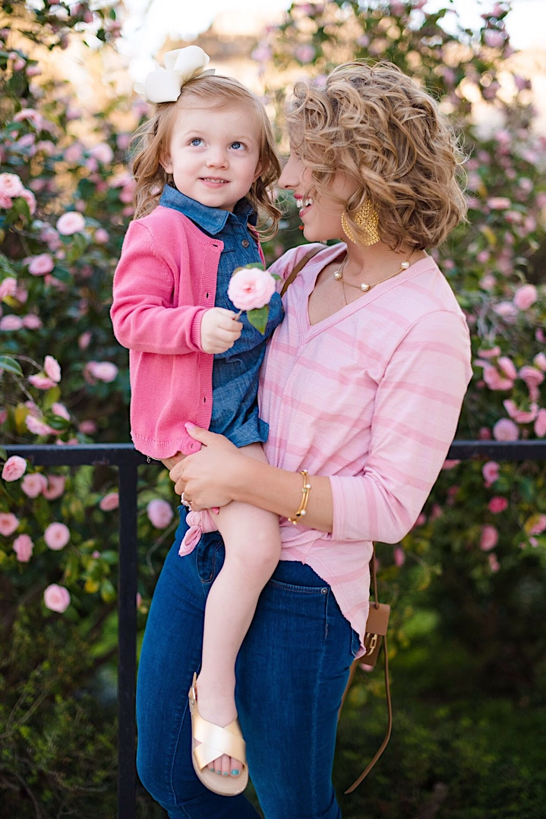 Mommy and Me Look: Denim and Pink - Click through to see the full post + outfit details on Something Delightful Blog