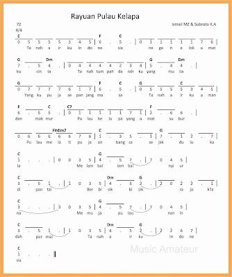 not angka lagu rayuan pulau kelapa