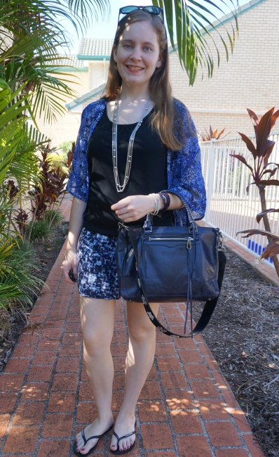 print mixing jeanswest jasmine kimono soft shorts Rebecca Minkoff regan bag with guitar strap | awayfromblue