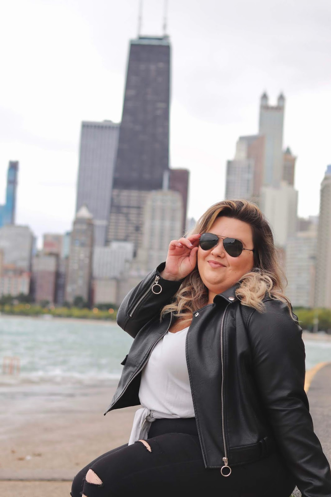 Chicago Plus Size Petite Fashion Blogger, influencer, YouTuber, and model Natalie Craig, of Natalie in the City, reviews Ray-Ban Aviator sunglasses from Khol's.