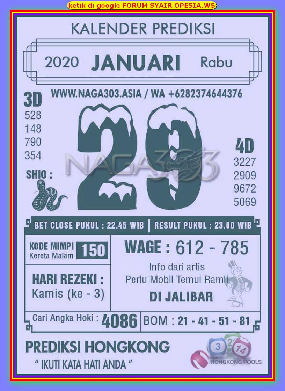 Kode syair Hongkong Rabu 29 Januari 2020 115