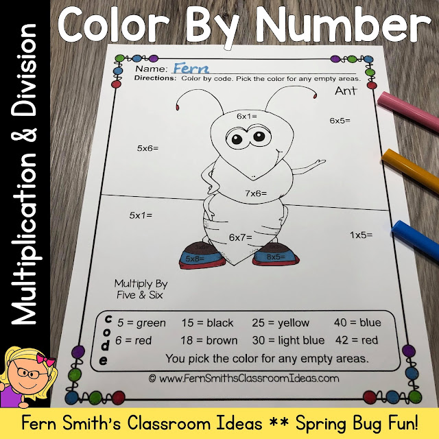 Click Here to Download Spring Color By Number Multiplication and Division Big Bug Fun Bundle