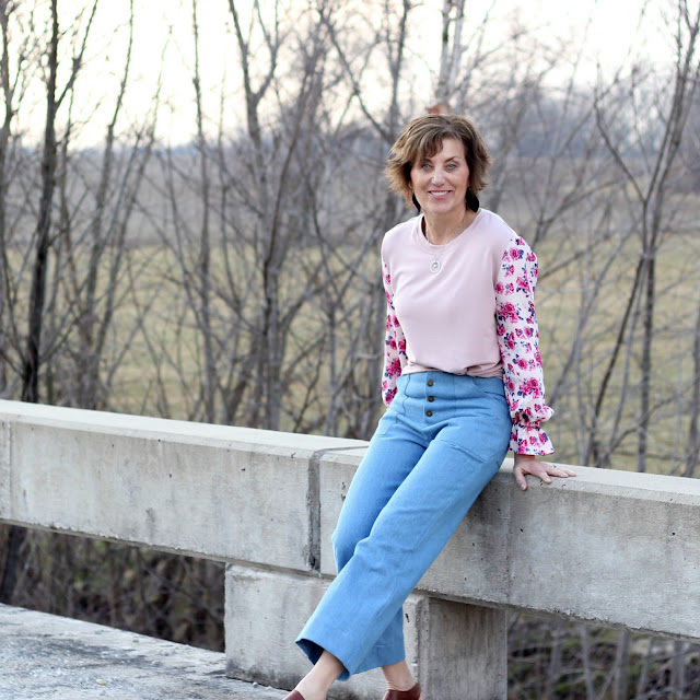 Style Maker Fabrics' Spring Style Tour - French Terry and Rayon Crepe for a top and denim for Landers