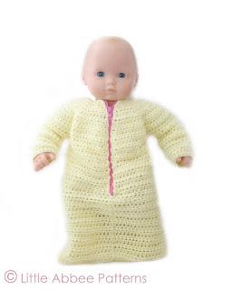 http://littleabbeepatterns.blogspot.com/2013/09/bitty-baby-sleep-sack-tutorial.html