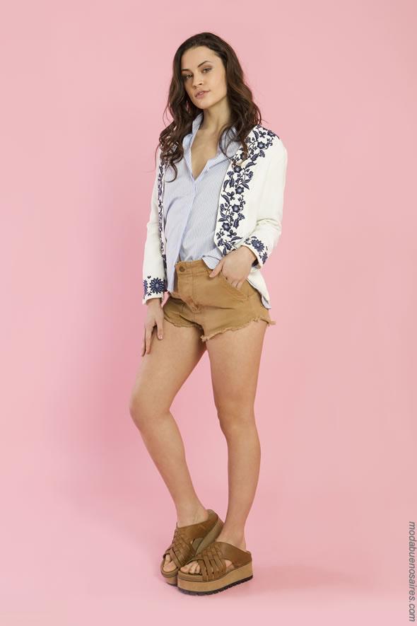 Moda verano 2018 ropa de mujer. Shorts, camisas y chaquetas moda 2018.