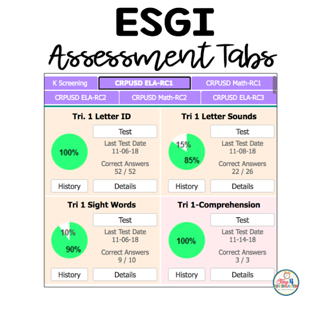 ESGI Tests This is where all the assessment tests are located.  Click the tab for assessments.  So easy to locate a test to see how a student is performing.  You can look at overall class percentages. or just one student.