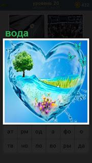 небольшая емкость в виде сердца наполнена водой и некоторые детали креатива