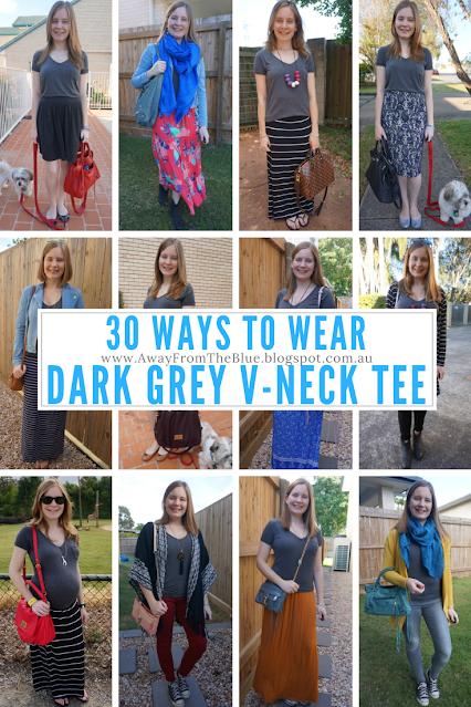 30 ways to wear a dark grey tee #30wears away from the blue blog wardrobe remix
