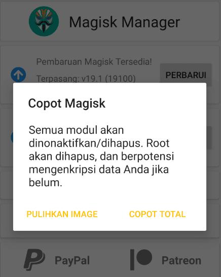 Copot Magisk HP
