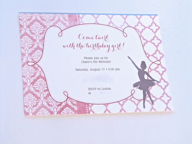 girls ballerina party invitaions