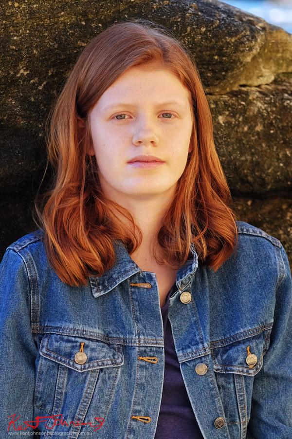 Natural portrait for teen model portfolio, red hair, denim jacket - Photography by Kent Johnson