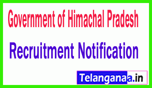 Government of Himachal Pradesh Recruitment Notification