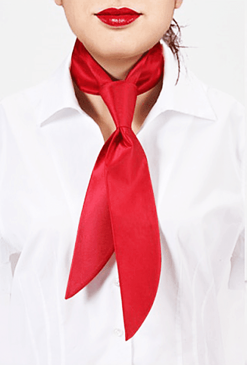 image of woman wearing tie like a scarf around her neck