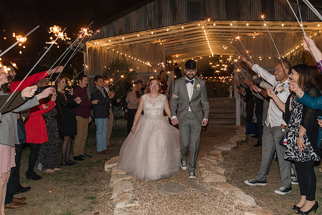 Disney themed Wedding, Gruene Estate Wedding Venue Reception, Sparkler Exit