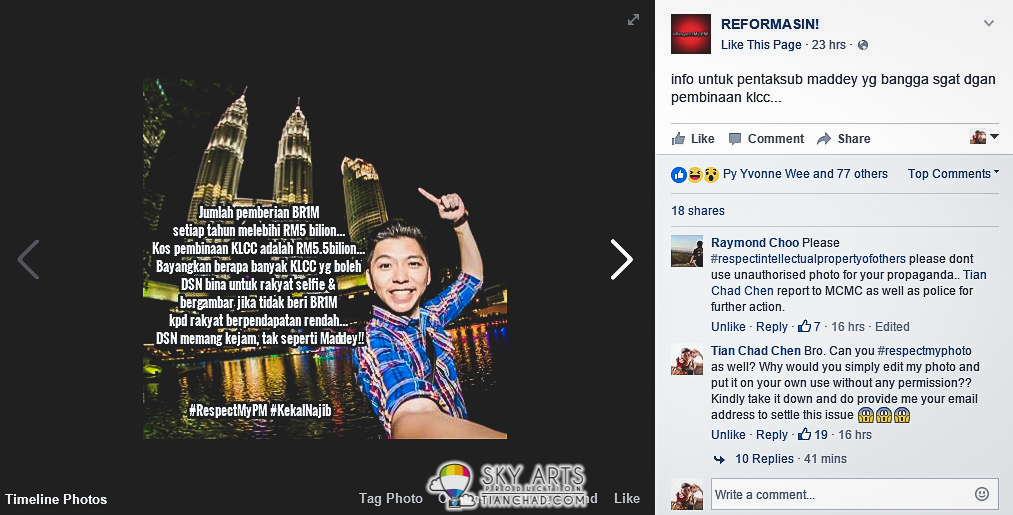 Selfie Photo Of Klcc Being Misused By Unauthorized Party Political Message 4