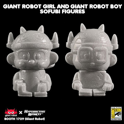 San Diego Comic-Con 2019 Exclusive Giant Robot Girl & Giant Robot Boy Sofubi Mini Figures by Hyperactive Monkey – GID, Silver & Hot Pink Colorways!
