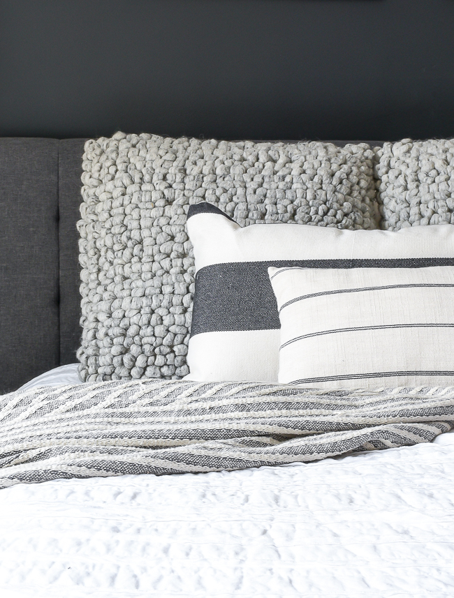 Textured wool throw pillows