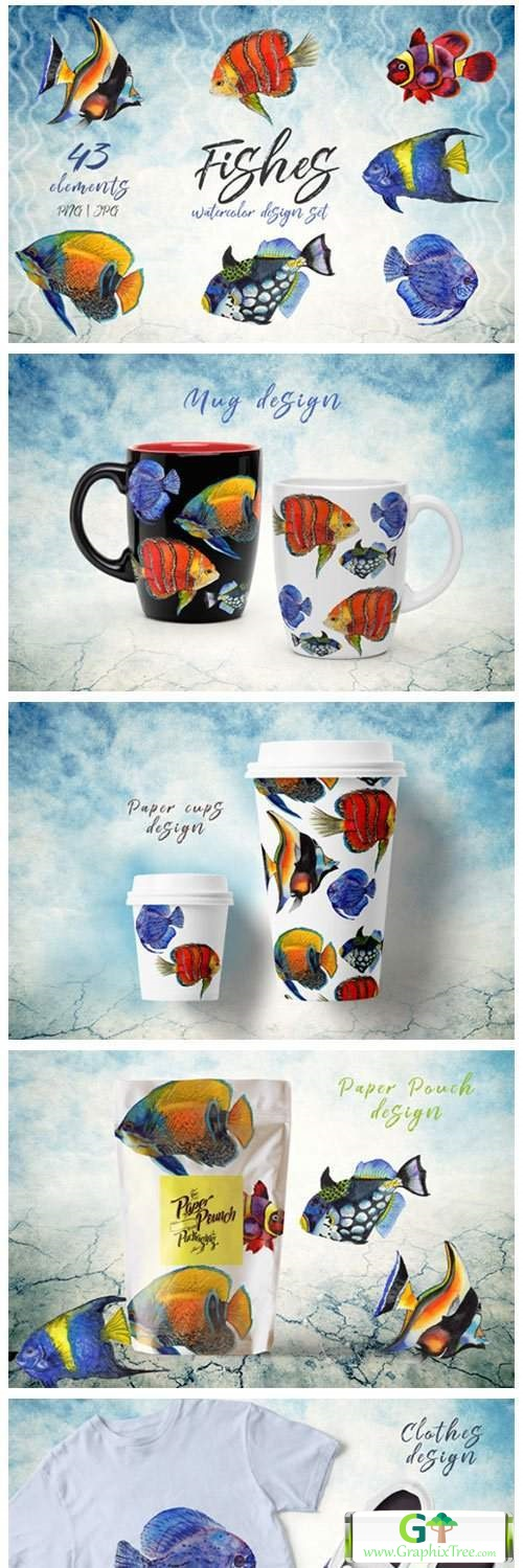 Sea Fishes PNG Watercolor Set [Stock Image] [illustrations]
