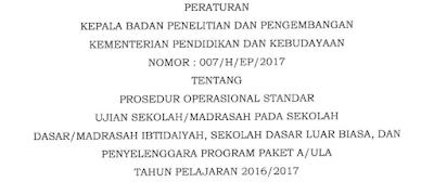 Prosedur Operasional Standar Ujian Sekolah/ Madrasah 2016-2017