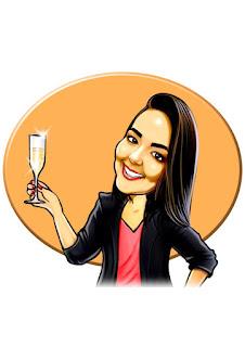 caricatura de formanda tomando champagne