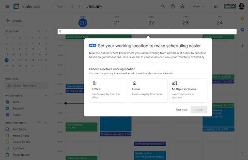 Uma caixa de diálogo de integração pop-up para ajudar você a configurar seu local de trabalho