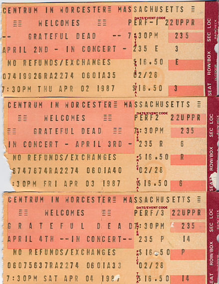Grateful Dead, April 2, 3, and 4, 1987