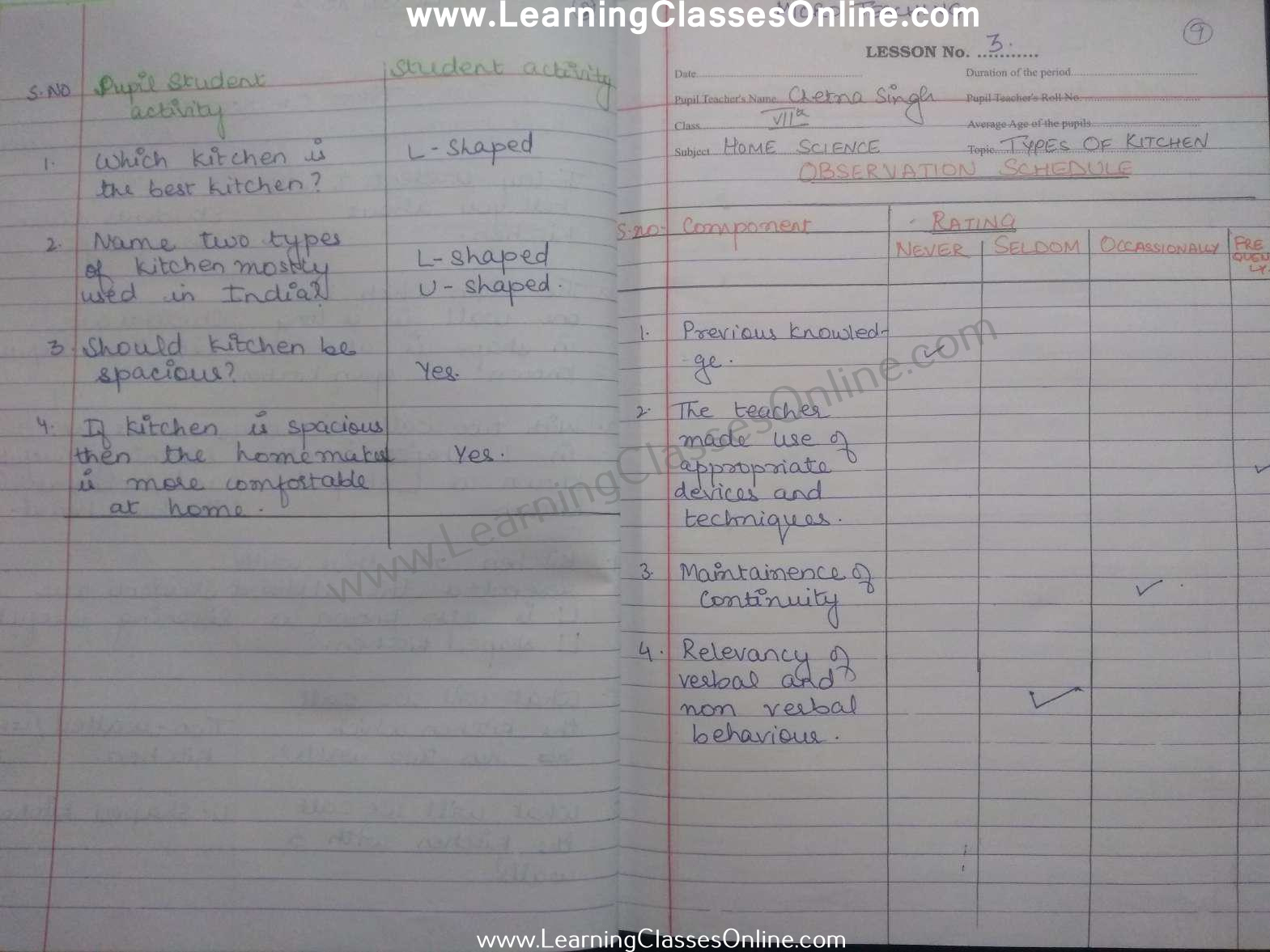 class 7th home science microteaching lesson plan