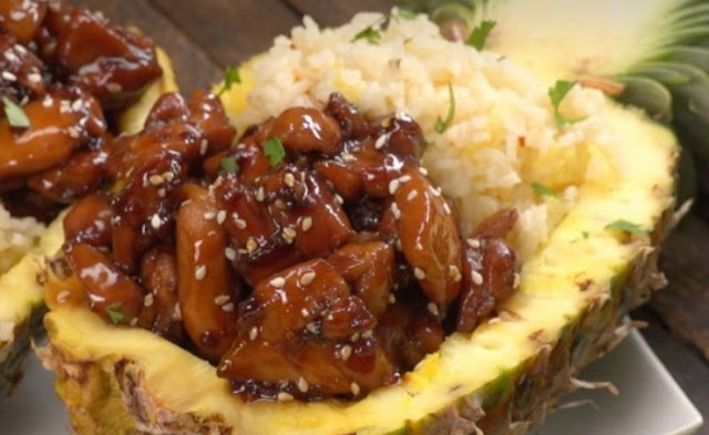 Teriyaki Chicken Pineapple Boats #party #weeknightdinner