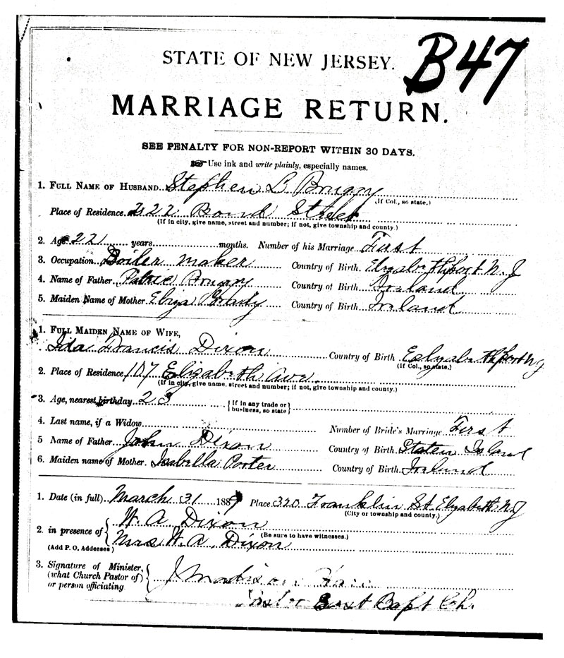 Rooted in Elizabeth: Ida Dixon and Stephen Bruggy : Marriage Certificate