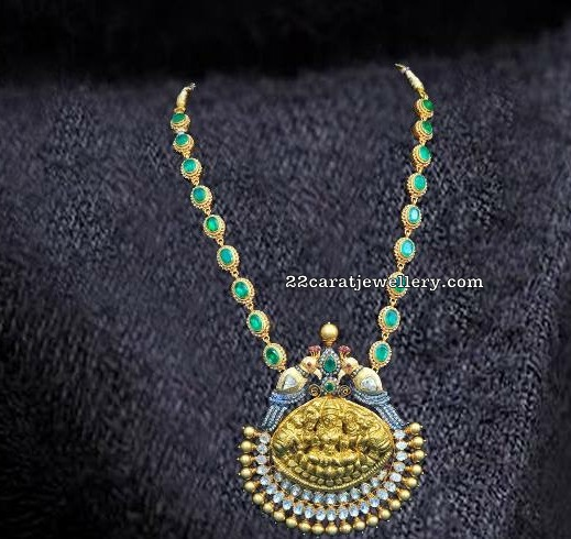 Emerald Stone Long Set by Bombay Jewellers
