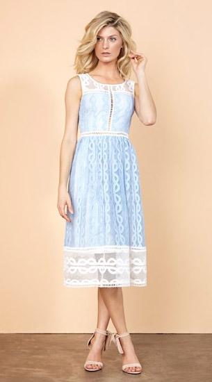 Iorane verão 2017 vestido midi renda azul e branco