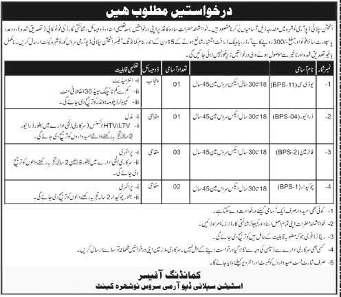 Station Supply Depot Nowshera Jobs Pakistan Army 2021
