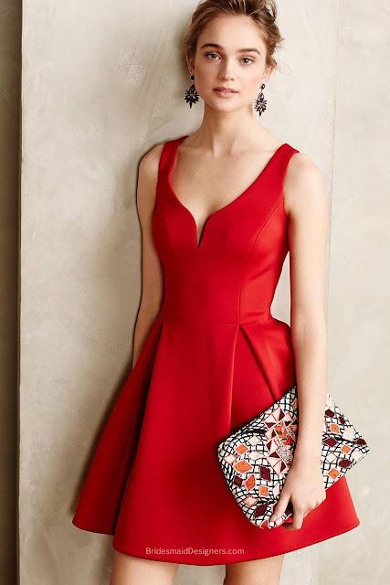 Short Red Satin Sleeveless V-Neck Textured A-Line Cocktail Bridesmaid Dress