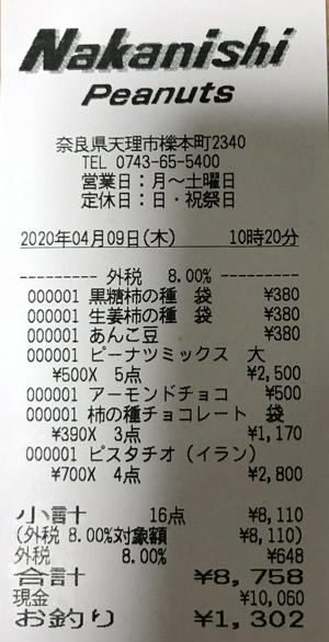 中西ピーナツ 2020/4/9 のレシート