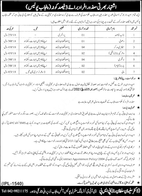 Punjab Police Lahore Jobs in Pakistan 19/02/2021 Latest